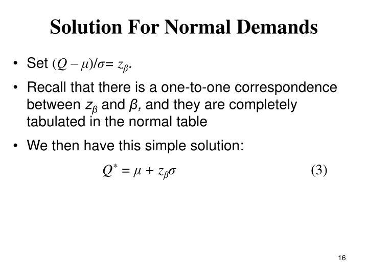 Solution For Normal Demands