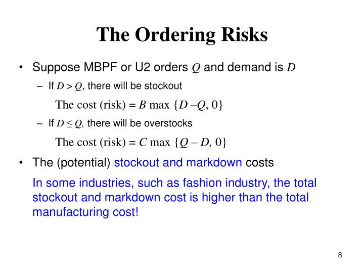 The Ordering Risks
