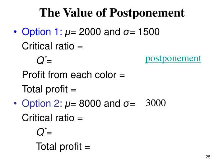 The Value of Postponement
