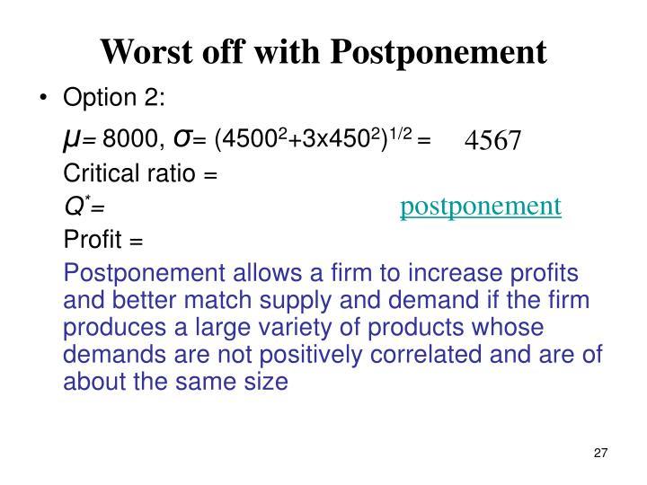 Worst off with Postponement