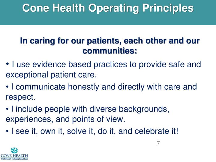 Cone Health Operating Principles