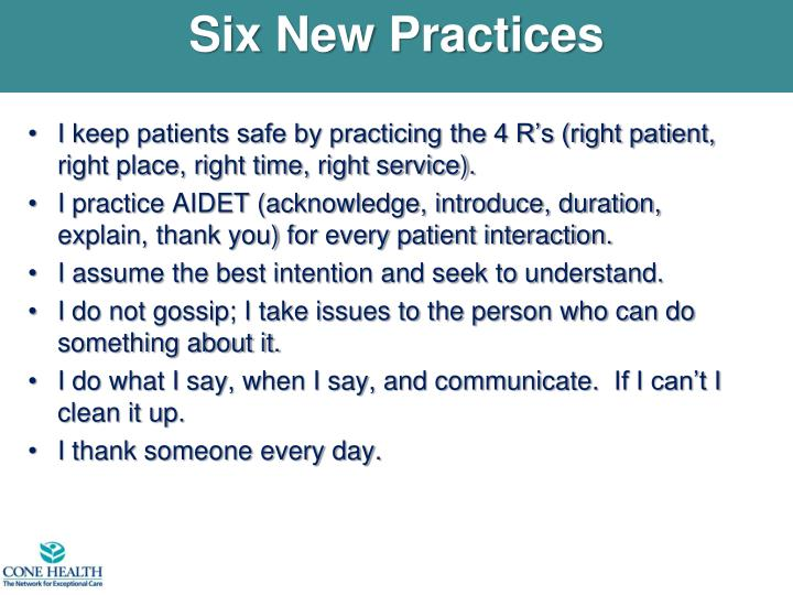 Six New Practices