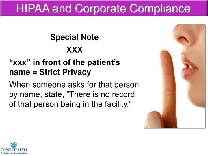 HIPAA and Corporate Compliance