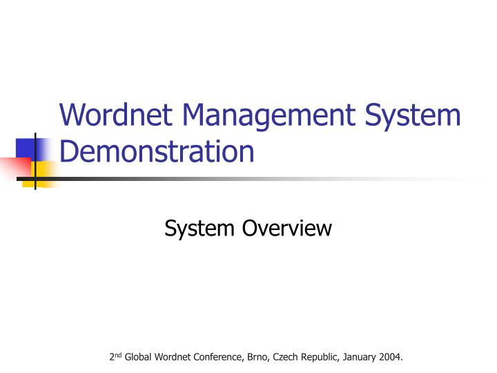 Wordnet management system demonstration