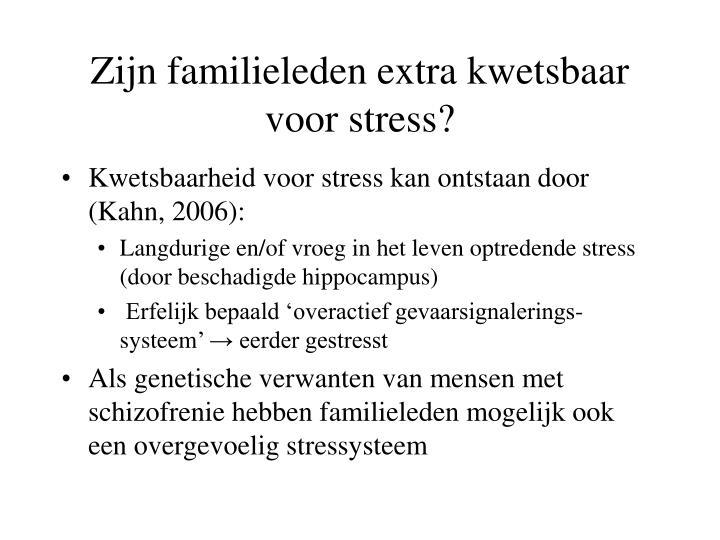 Zijn familieleden extra kwetsbaar voor stress?
