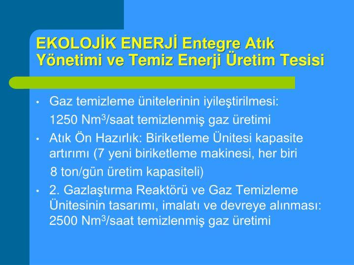 EKOLOJİK ENERJİ Entegre Atık Yönetimi ve Temiz Enerji Üretim Tesisi