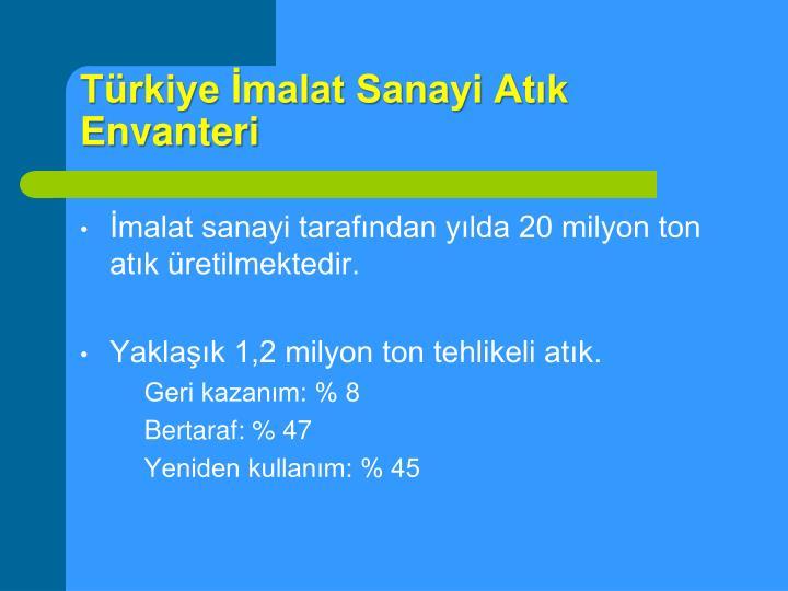 Türkiye İmalat Sanayi Atık Envanteri
