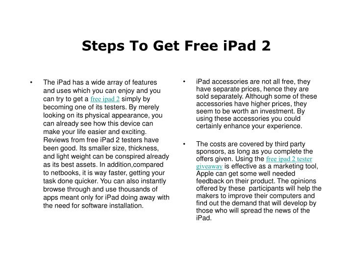 Steps to get free ipad 2