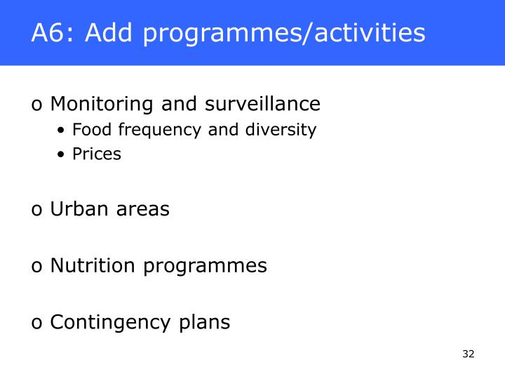 A6: Add programmes/activities