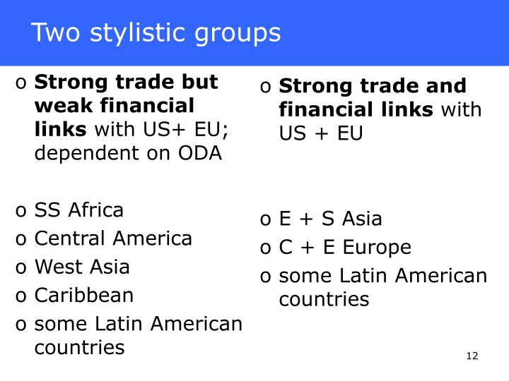 Strong trade but weak financial links