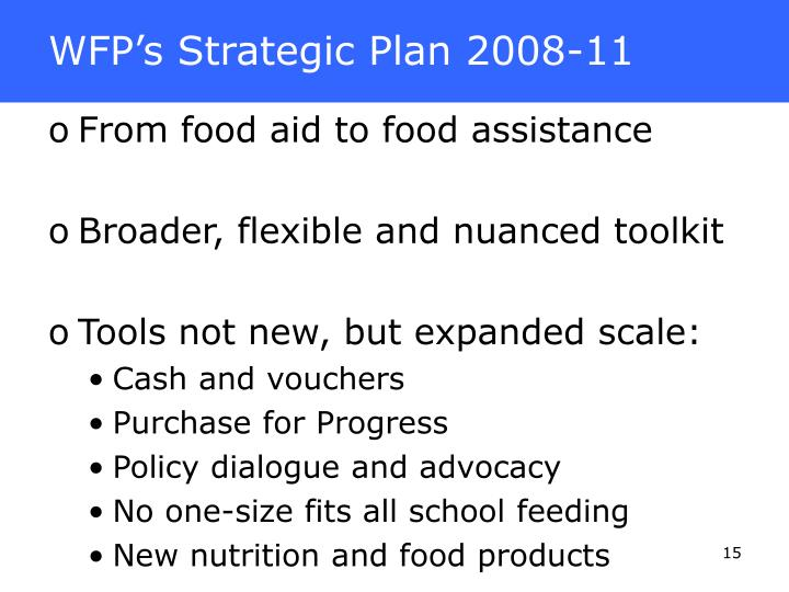 WFP's Strategic Plan 2008-11