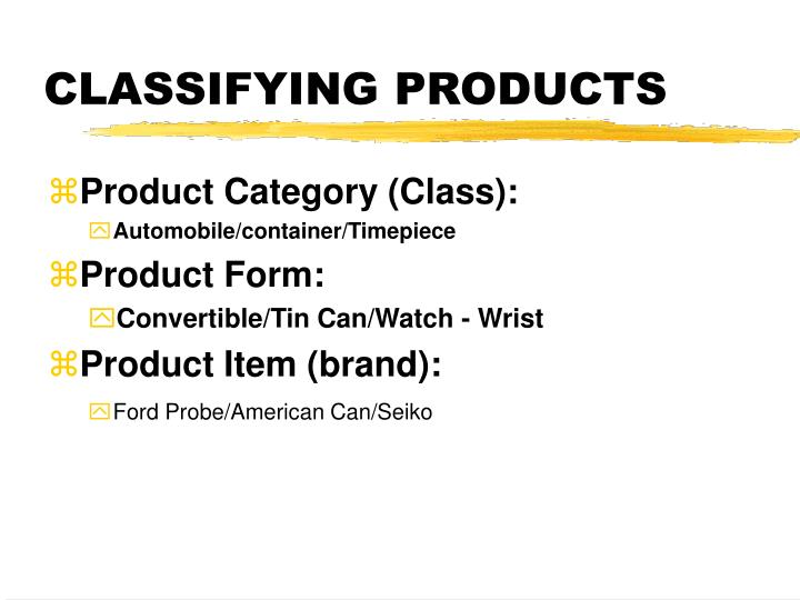 CLASSIFYING PRODUCTS