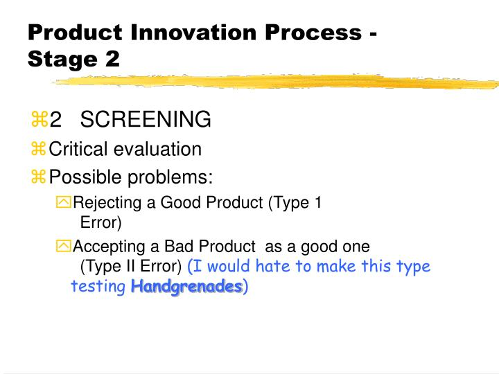 Product Innovation Process - Stage 2