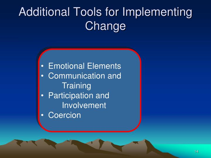 Additional Tools for Implementing Change