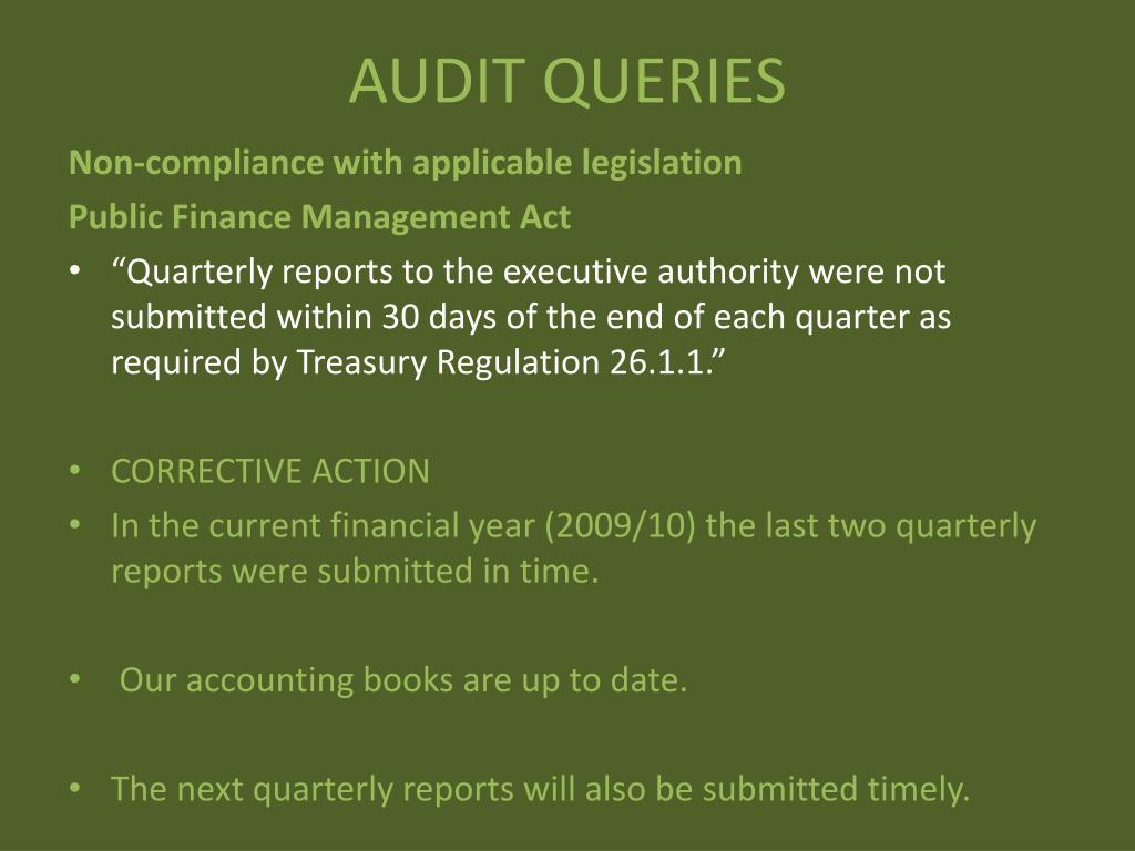 AUDIT QUERIES