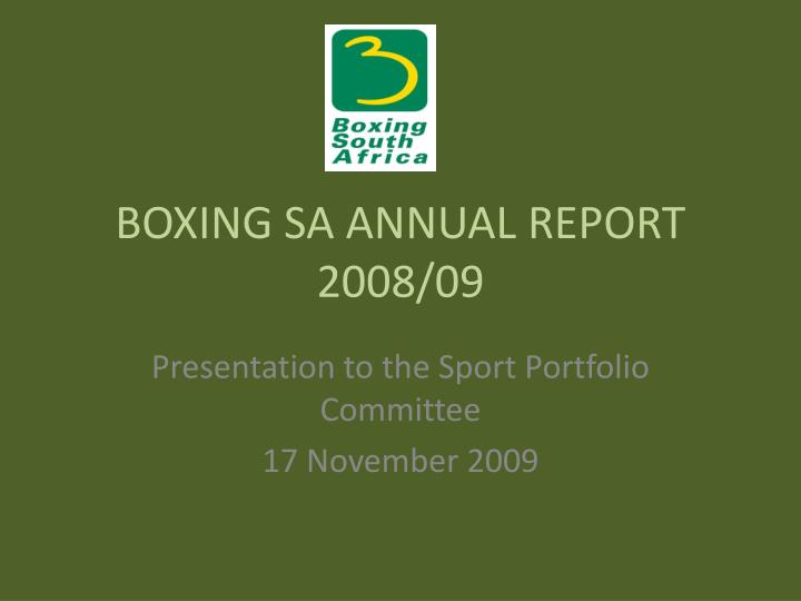 Boxing sa annual report 2008 09