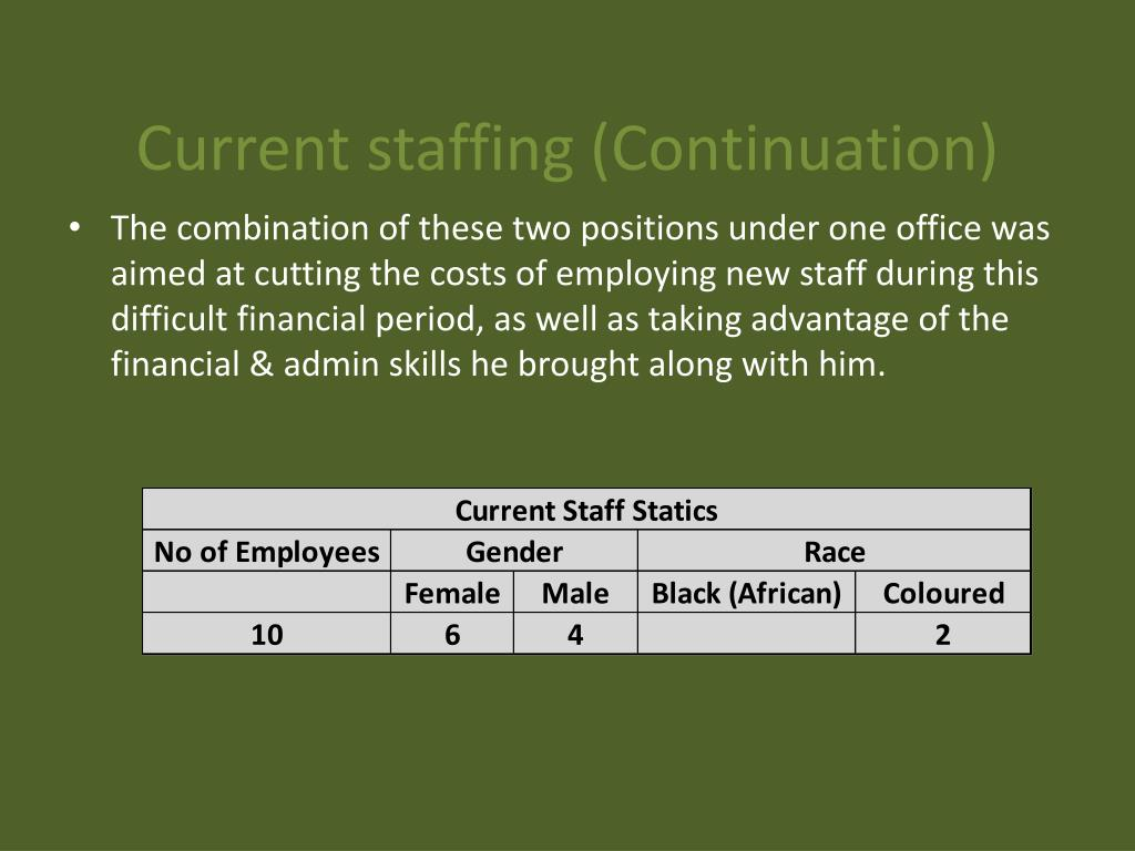 Current staffing (Continuation)