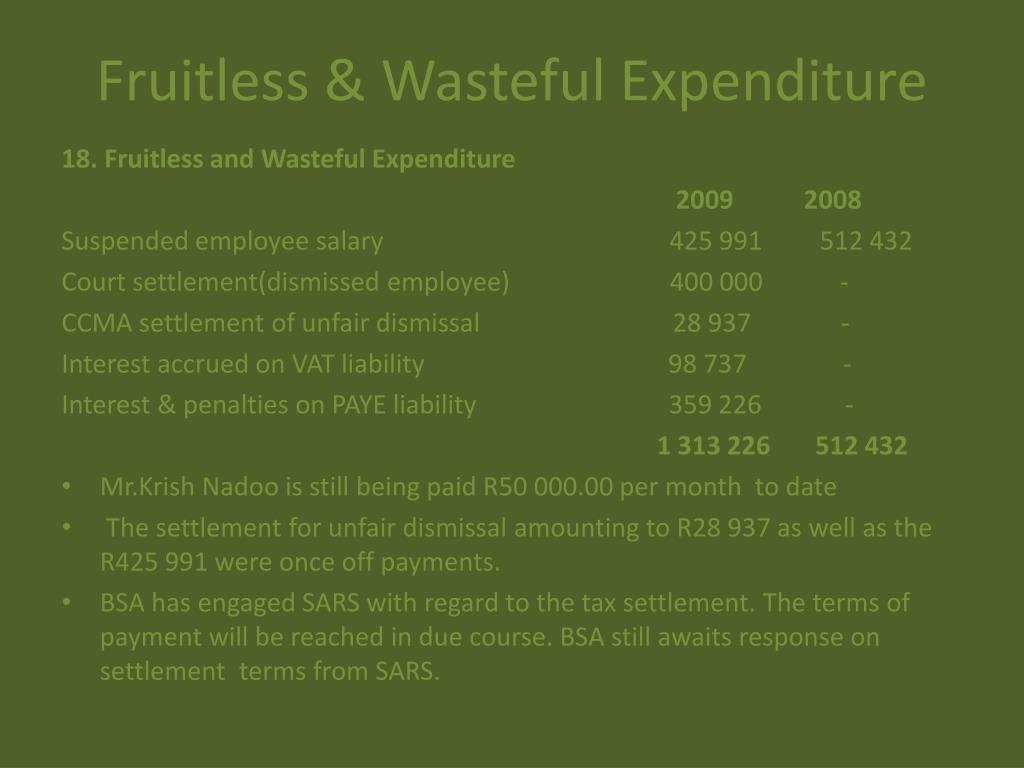 Fruitless & Wasteful Expenditure