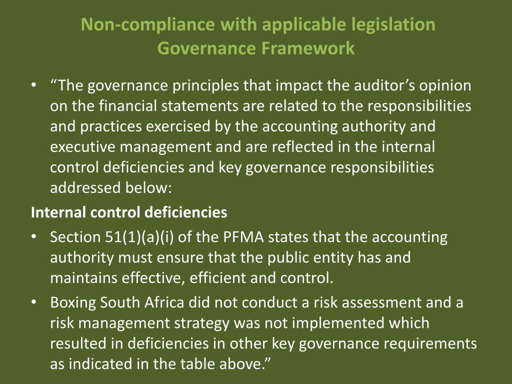 Non-compliance with applicable legislation Governance Framework