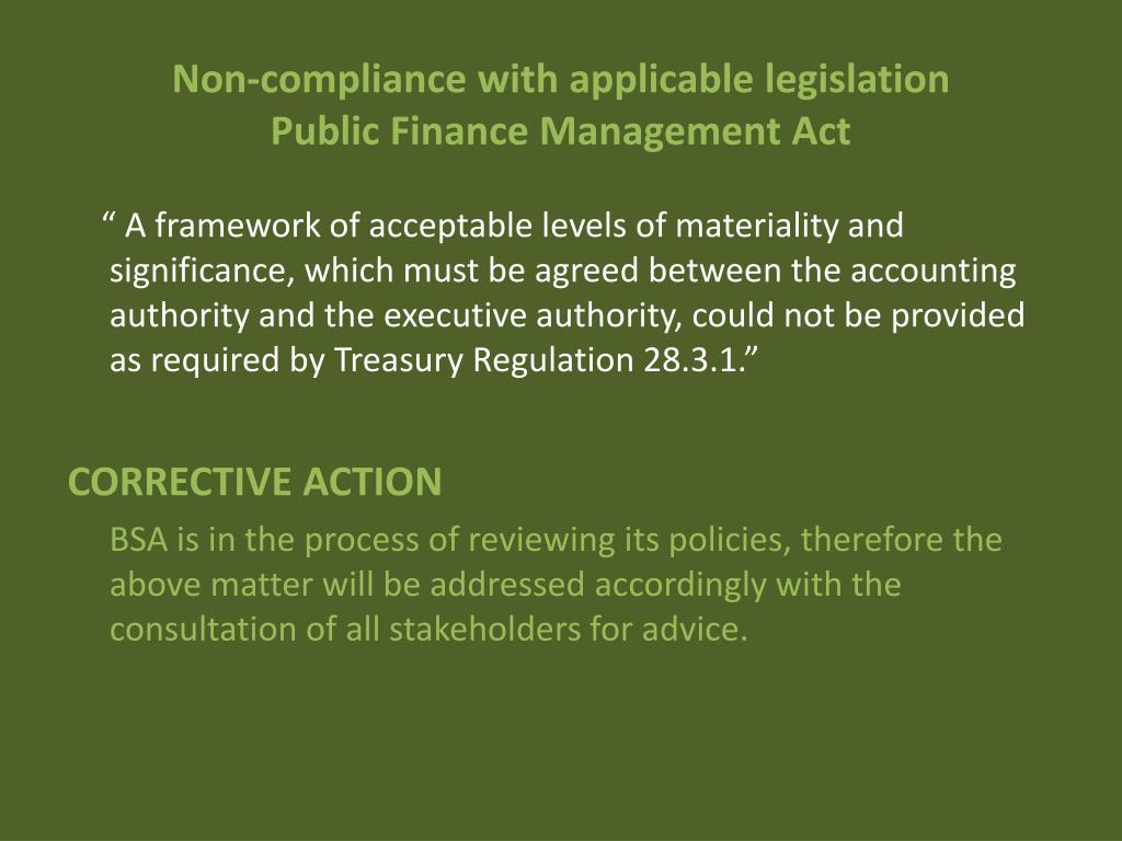 Non-compliance with applicable legislation