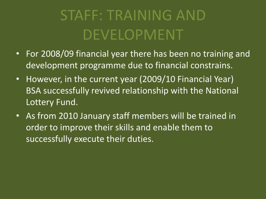 STAFF: TRAINING AND DEVELOPMENT
