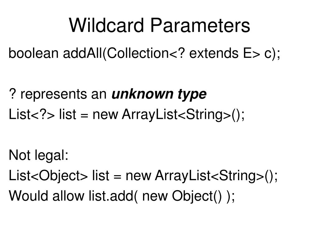 Wildcard Parameters