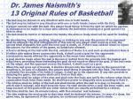 dr james naismith s 13 original rules of basketball