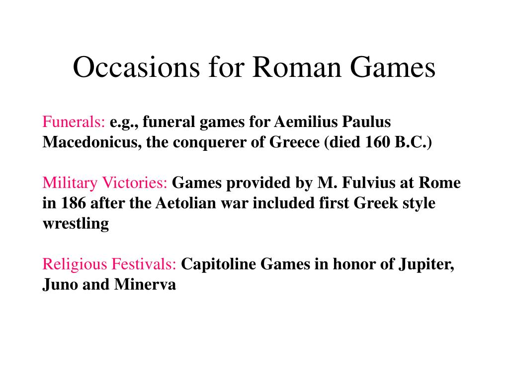 Occasions for Roman Games