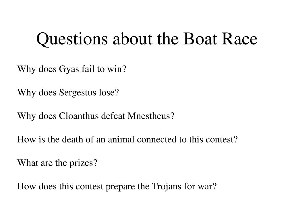 Questions about the Boat Race