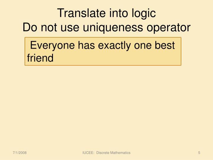 Translate into logic