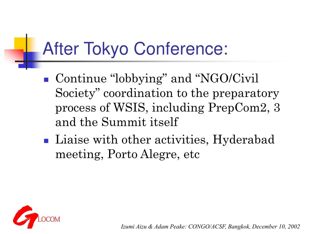 After Tokyo Conference:
