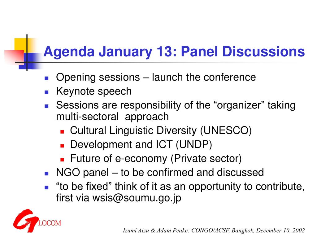 Agenda January 13: Panel Discussions
