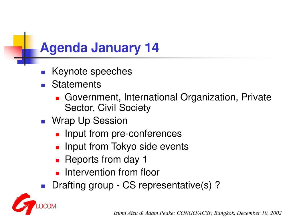 Agenda January 14