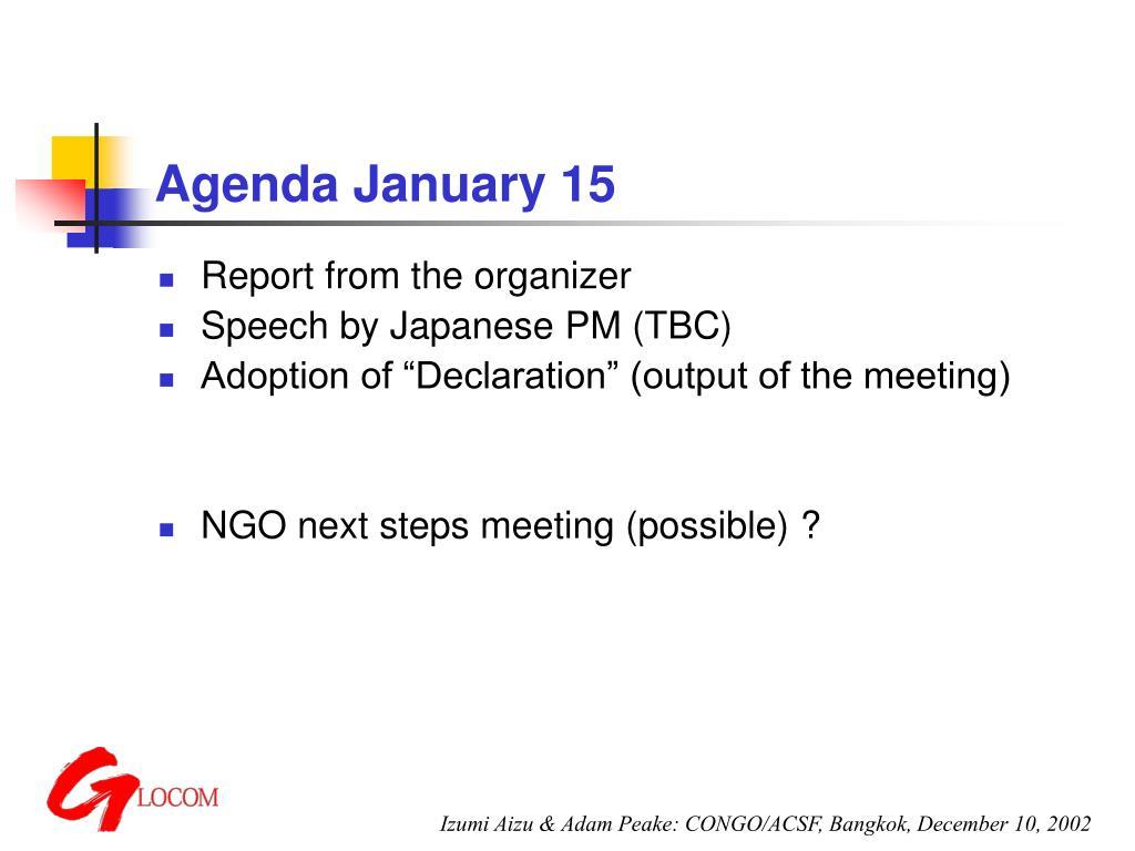 Agenda January 15