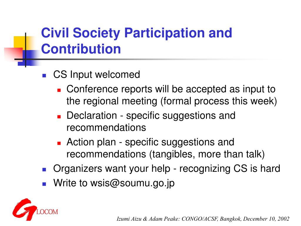 Civil Society Participation and Contribution