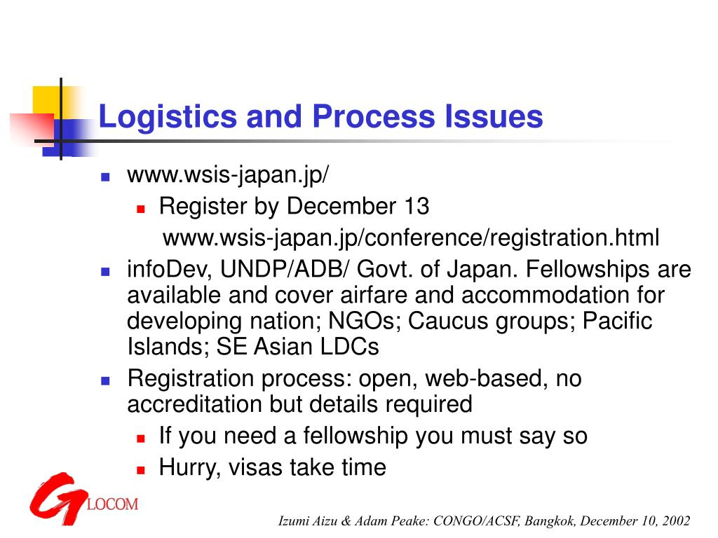 Logistics and Process Issues