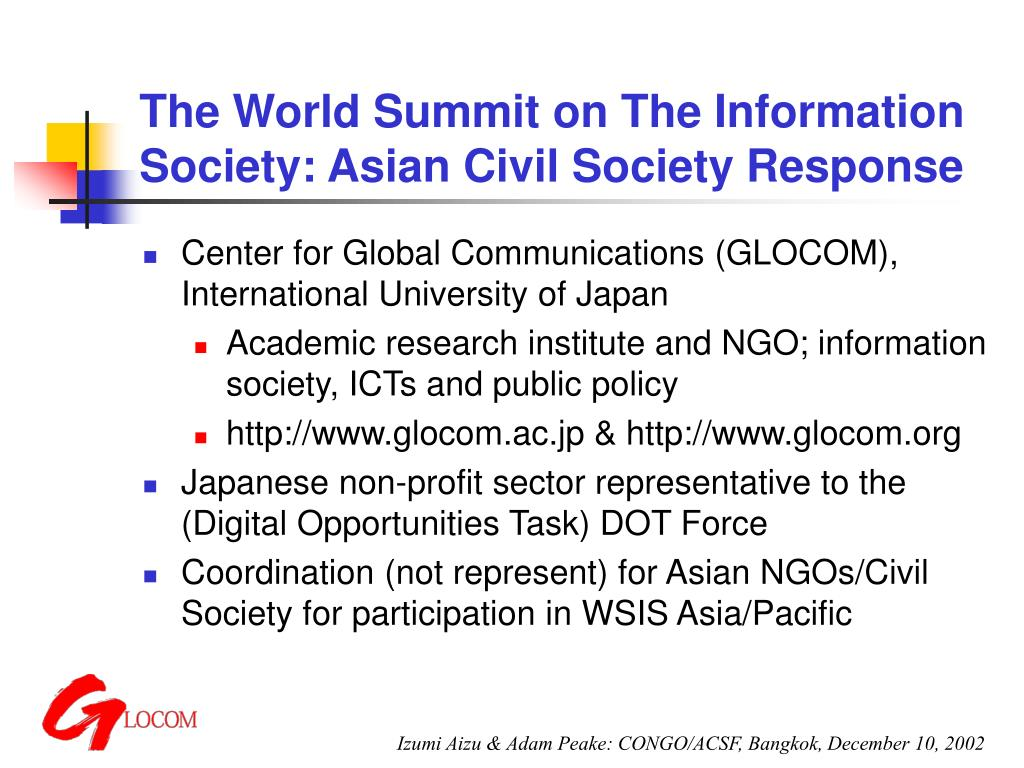 The World Summit on The Information Society: Asian Civil Society Response