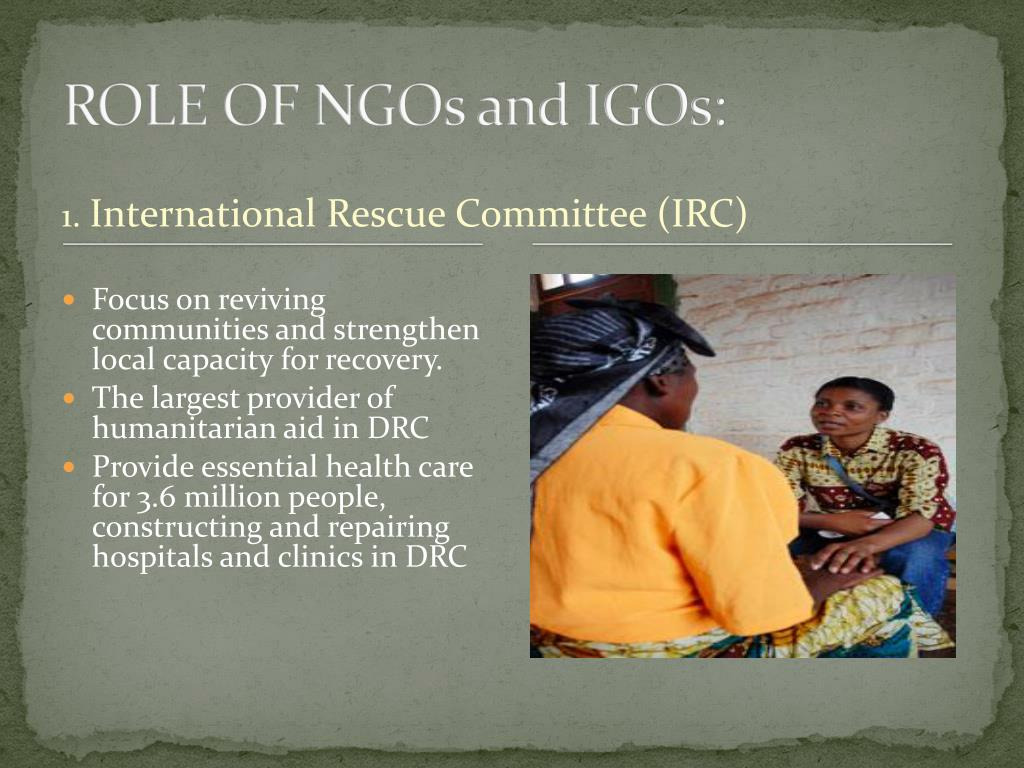 ROLE OF NGOs and IGOs: