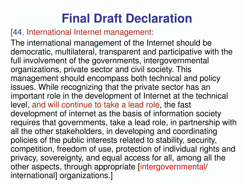 Final Draft Declaration