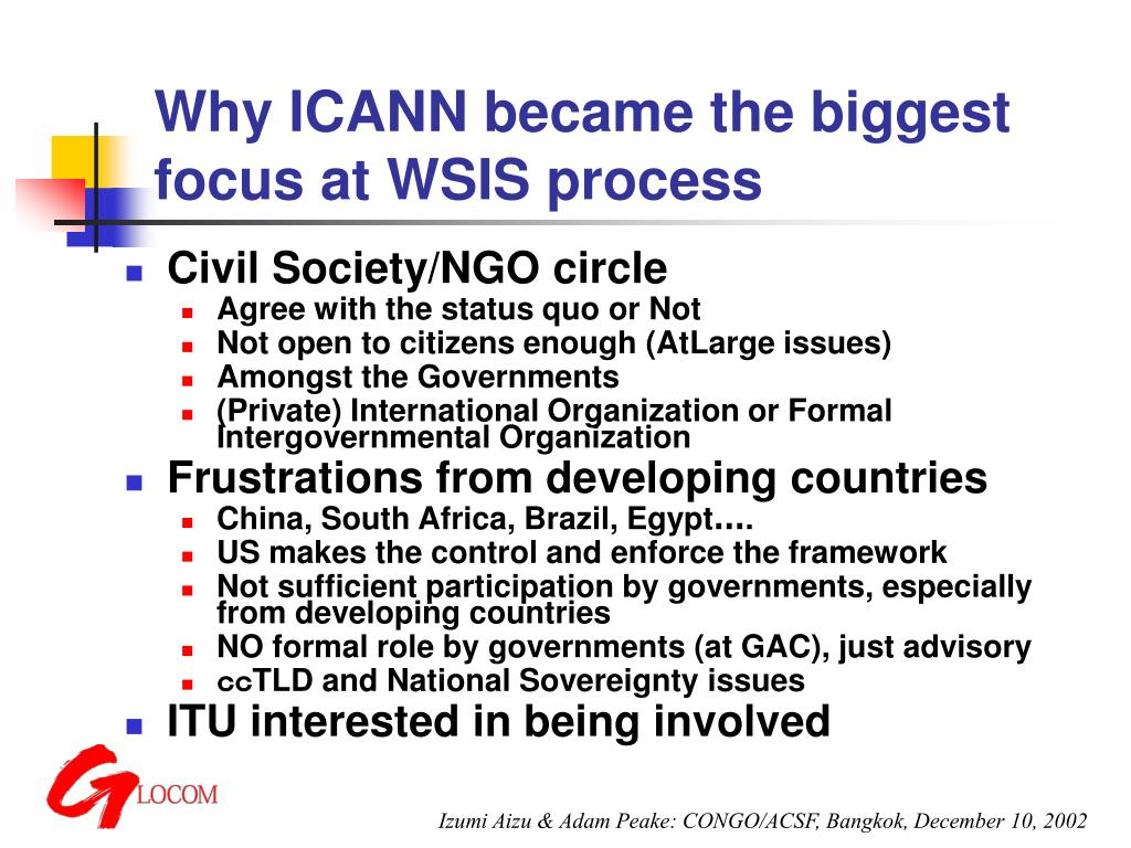 Why ICANN became the biggest focus at WSIS process