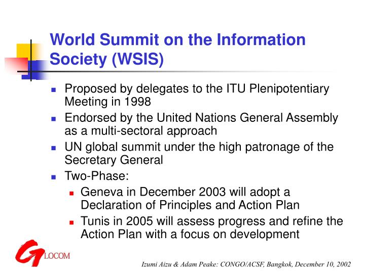 World summit on the information society wsis