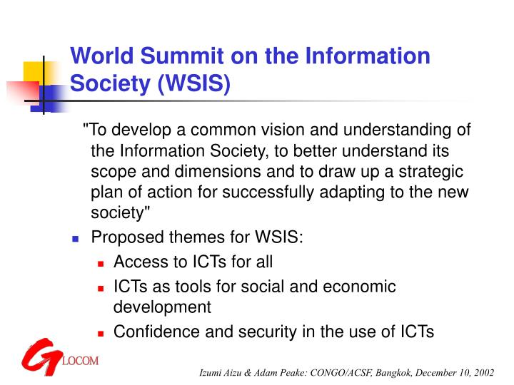 World summit on the information society wsis2