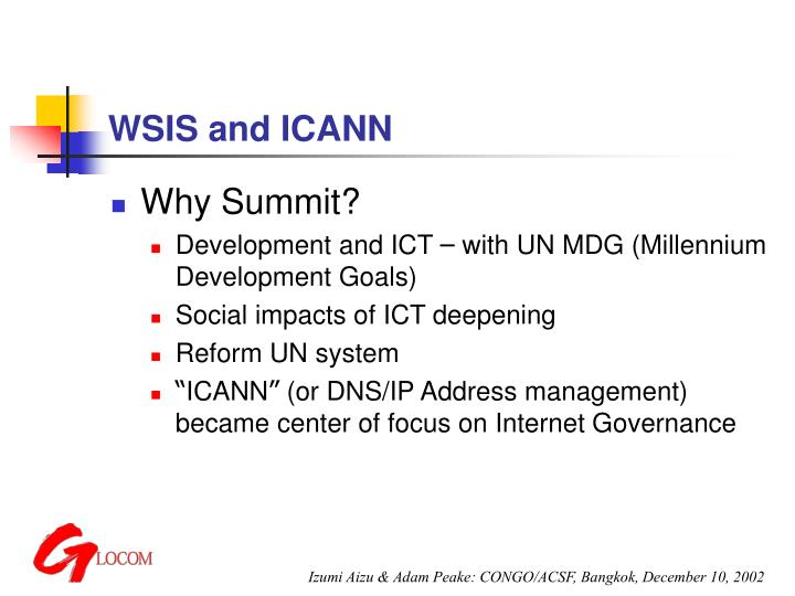 Wsis and icann l.jpg