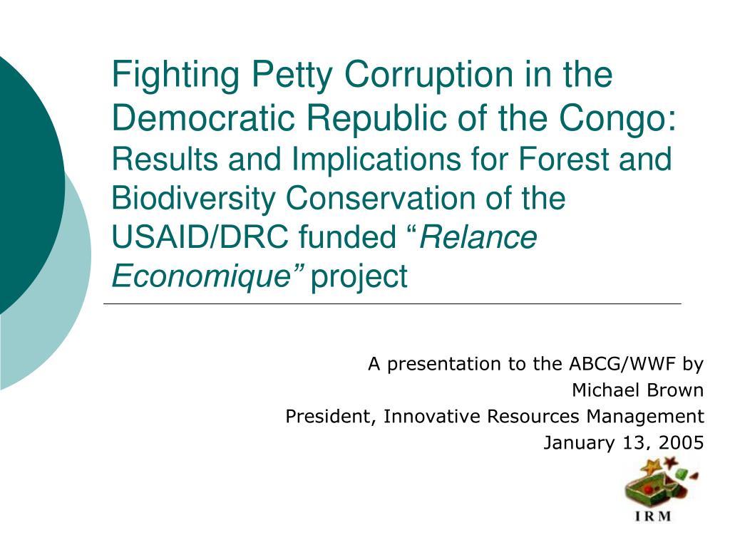Fighting Petty Corruption in the Democratic Republic of the Congo: