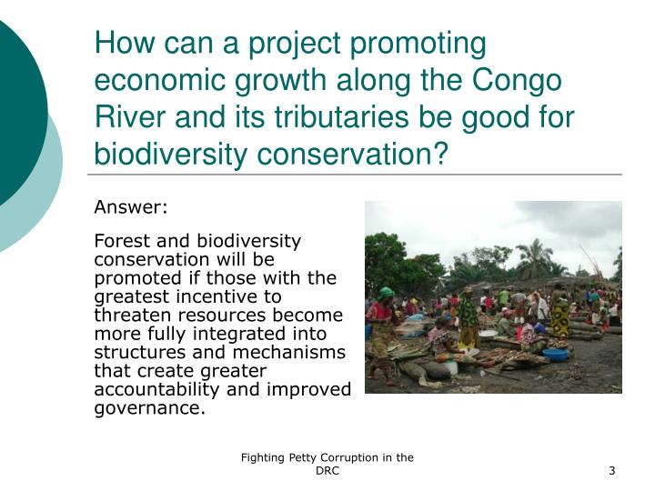 How can a project promoting economic growth along the Congo River and its tributaries be good for bi...