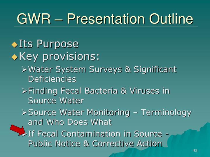 GWR – Presentation Outline