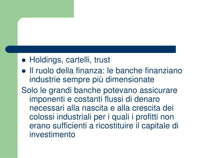 Holdings, cartelli, trust