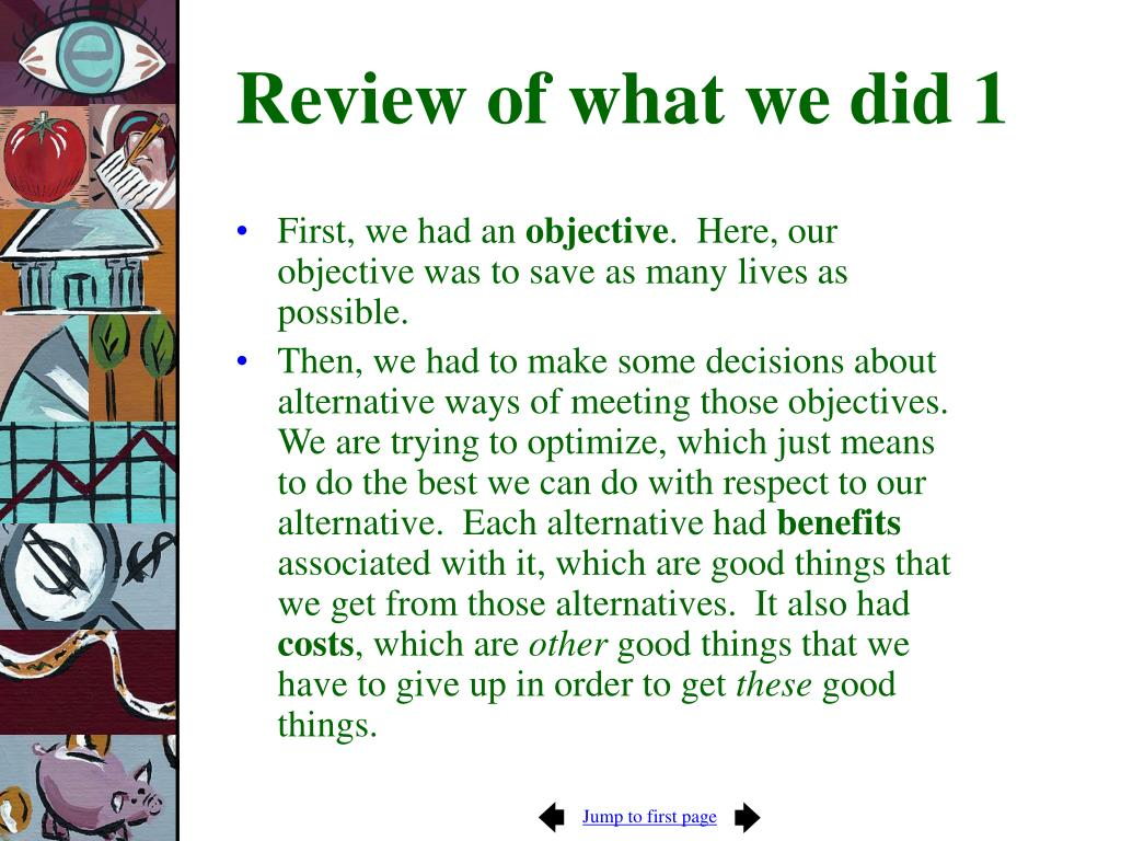 Review of what we did 1