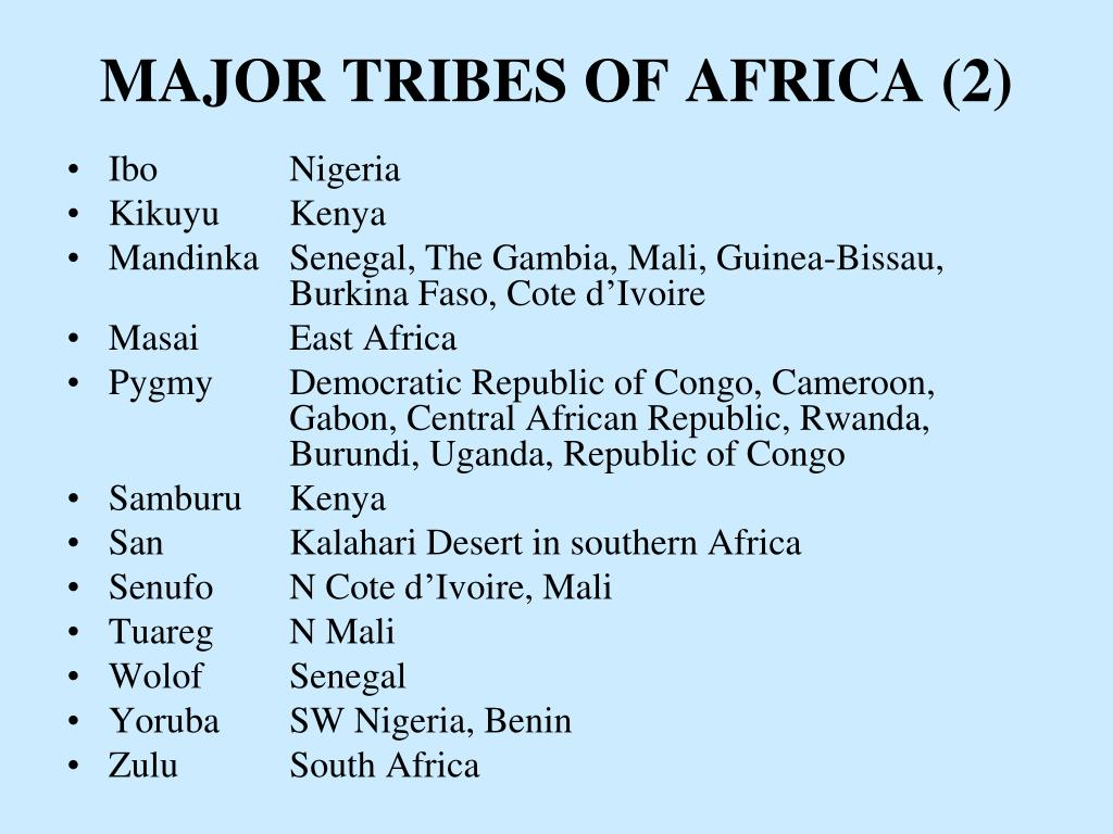 MAJOR TRIBES OF AFRICA (2)