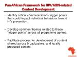 pan african framework for hiv aids related content development